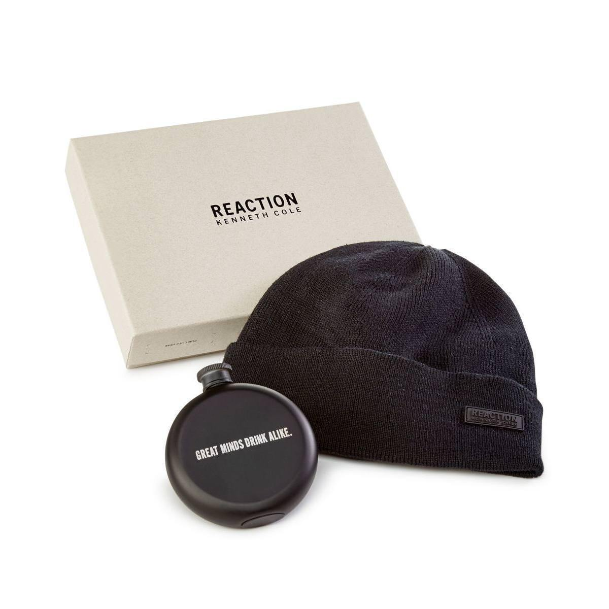 Kenneth Cole Mens Flask Gift Set Beanie Hat Blk One Size, $55