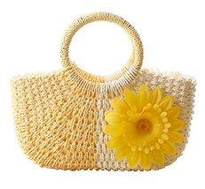 Fashion Vacation Item/Bi-color Series Meganium Straw Hand Bag/ Beach Bag/Yellow