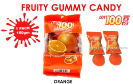 Candy Sweet Fruit Gummy LOT 100 ORANGE 1 Pack 150g Fresh Taste of Real Fruit DHL - $14.90