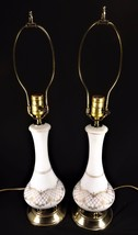 Gorgeous Mid Century Pair of Table Lamps Satin Glass Gold Design & Solid... - $99.00