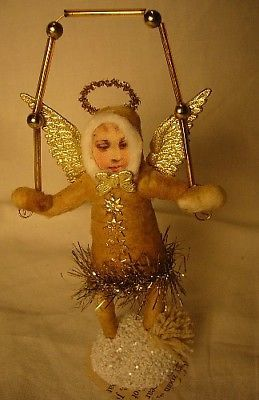 Vintage Inspired Spun Cotton Christmas Juggling Angel Ornament no.88