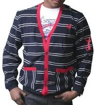 Crooks & Castles Marine Foncé Blanc Rouge Tricot Coton Diable Pull Cardigan Nwt