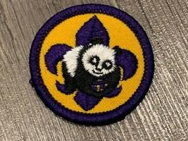 Boy scouts merit patch badge vintage cub den vtg arm emblem panda bear purple us - $9.70