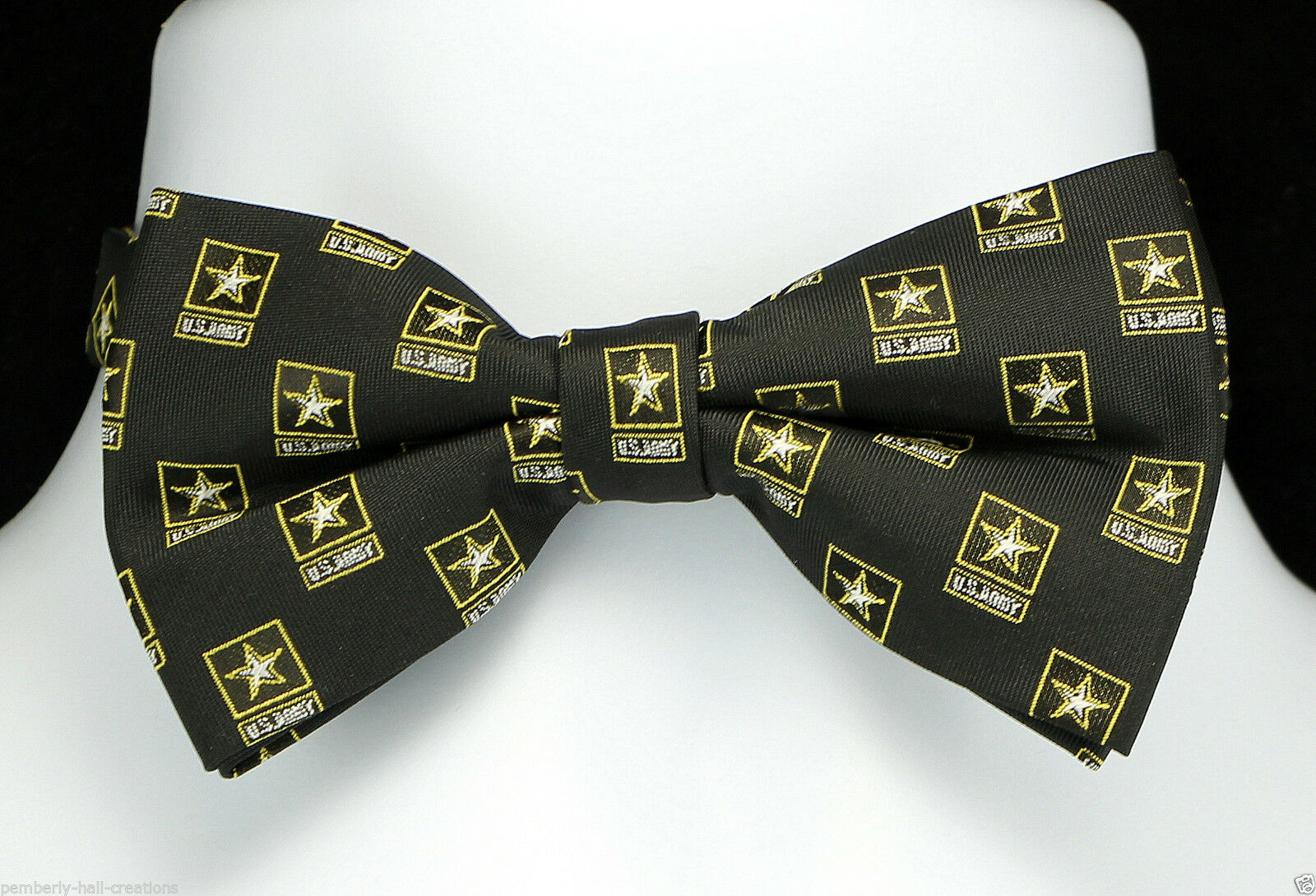 US Army Star Mens Bow Tie Adjustable Military Checkered Logo Black Gift Bowtie