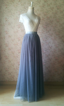 Gray Tulle Skirts for Bridesmaids Plus Size Full Long Wedding Tulle Skirt Outfit image 4