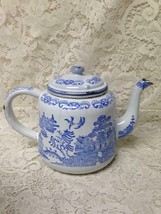 Antique, Rare, Blue Willow Enamelware Teapot or Tea Kettle 10in W x 7.5in H - $109.20
