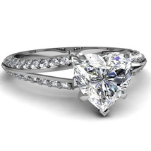 14k White Gold Plated 925 Sterling Silver Heart Shape CZ Women's Engagement Ring - $76.35