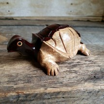 Hand Carved Wooden Turtle Figurine 5 inch Tortoise Wood Figure - $23.09 CAD