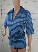 Short Sleeve Striped Blouse Blue 70s Mod Retro Vintage XS S - $15.00