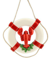 RED & WHITE LIFE RING w/LOBSTER GREENERY & ROPE COASTAL NAUTICAL XMAS OR... - $9.88