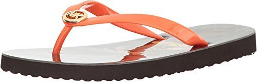 New Michael By Michael Kors MK Flip Flop Shiny Mimosa/Brown 8 Womens Shoes