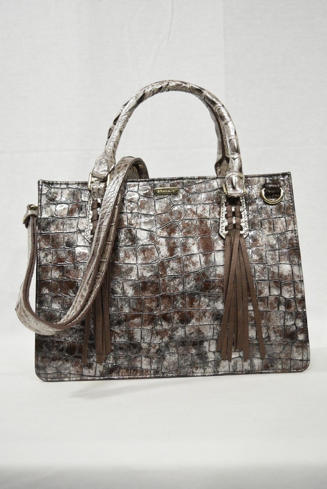 NWT Brahmin Small Camille Leather Satchel/Shoulder Bag in Brown Charente image 6