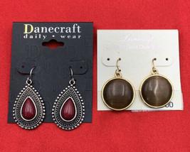 Danecraft Sterling Silver Earrings On Card Lot Of 2 Drop Dangle Pierced 20-1010 - $14.20