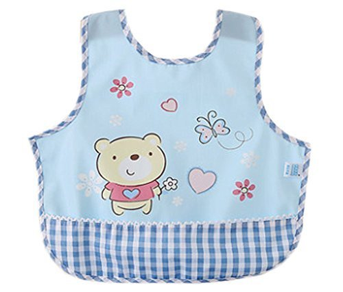 Lovely Cartoon Bear Waterproof PVC Feeding Baby Bibs Blue
