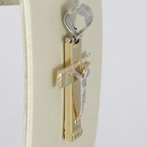 Cross Pendant White Yellow Gold 750 18K, with Christ, Square, Made in Italy image 1