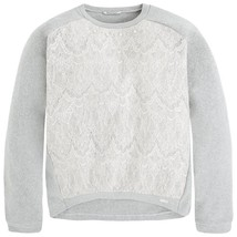Mayoral Tween Girls High Low Hem Woven Lace Knit Sweater