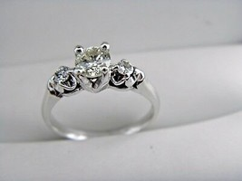 14k Solid White Gold 0.60 tcw Diamond Engagement Ring Pristine Condition - $685.01