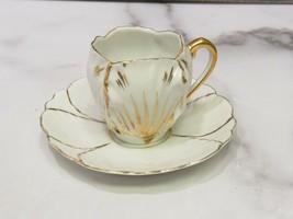 Antique Demitasse Porcelain Cup Saucer Flower Tulip Petals White Gold - $27.72