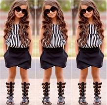 Hot Fashion Baby Kids Girls Clothing Striped Tops Blouse Black Pants Outfits set