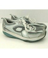 Skechers Shape Ups Womens Size 9 Gray Silver Blue Walking Fitness Shoes - $37.61