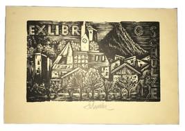 Holzstich Dr. Hans Schulze East Germany Ex Libris Exlibris Bookplate - $29.69