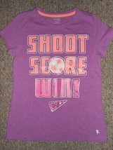 DANSKIN NOW Purple SHOOT SCORE WIN Short Sleeved Top Girls Size 10-12 - $3.66