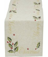 """Merry Christmas Table Runner New Embroidered 14"""" x 70"""" Holly Leaves Berr... - $26.18"""