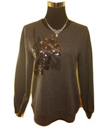 Dark Gray & Black Floral Sequin Embroidered Knit Pullover Sweater - Small - $50.00