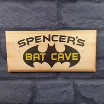 Personalised Bat Cave Sign, Batman Superhero Bedroom Door Decor Shed Pla... - $13.06