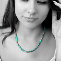 Gold turquoise necklace,gold necklace,beaded necklace,gemstone necklace - $84.00+