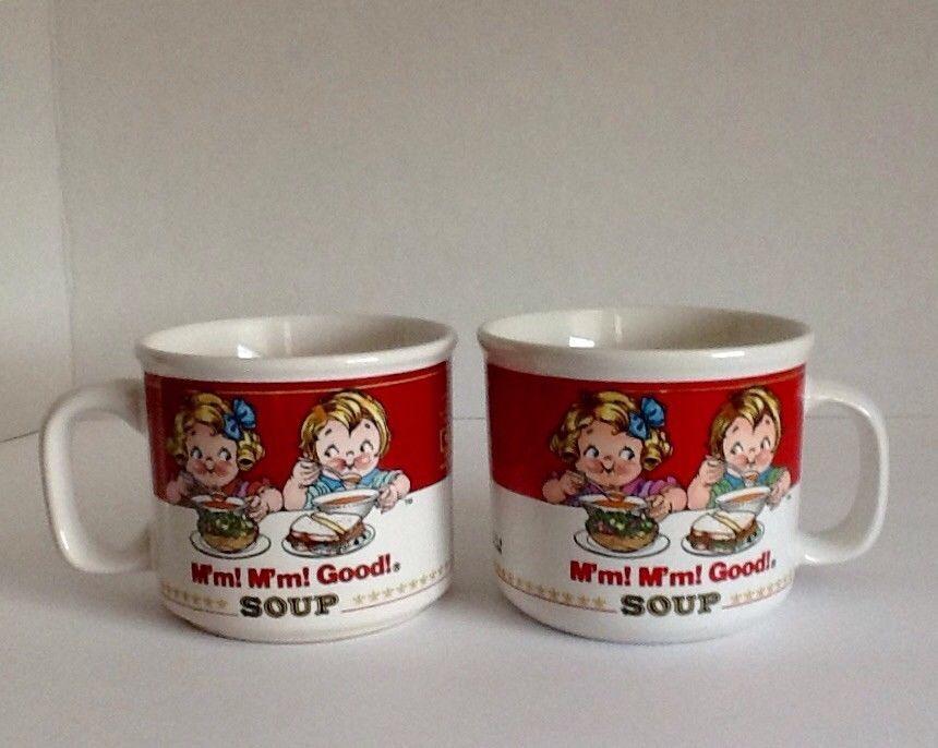 "Campbell's Kids Soup Mugs (2) Westwood International ""M'm! M'm! Good"" 1989-1997"