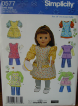 "Sewing Pattern 0577 18"" Doll Aprons American Girl, Mdm Alexander etc UNCUT - $4.99"