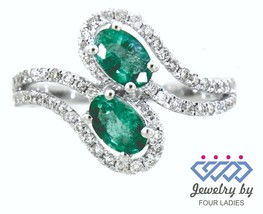 Emerald Birthstone 14K White Gold 0.84CT Real Natural Diamond Fine Ring ... - $704.07