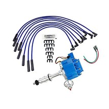 A-Team Performance HEI Distributor Blue Cap, Spark Plug Wires Set and Pigtail Wi