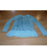 Girl's Size 6-6X Disney Frozen Elsa Light Weight Sweater Top Aqua Mist New - $15.00