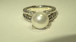 David Yurman Silver Pearl Cable Ring Sz 6 Diamonds RRP $595 - $417.84