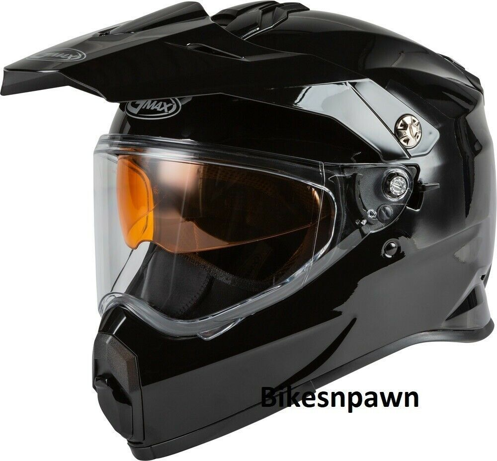 New Adult XL Gmax AT-21S Gloss Black Adventure Cold/ Snow Helmet DOT/ECE
