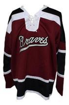 Custom Name # Boston Braves Retro Hockey Jersey 1970 New Maroon Any Size image 4