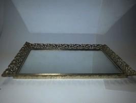 "Vintage Mid Century Vanity Dresser Tray Filigree Gold 15"" x 10"" - $13.36"