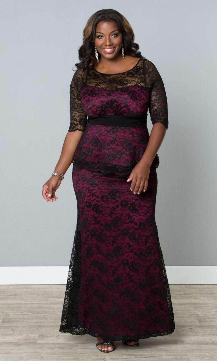 Kiyonna Übergröße Kleid Größe 1X Schwarz Lila Spitze Abendkleid Astoria