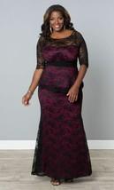 Kiyonna Übergröße Kleid Größe 1X Schwarz Lila Spitze Abendkleid Astoria image 1