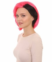 Womens 80s Rave Punk Wig | Pink and Black Rock & Disco Wigs | Premium Breathable - $26.85