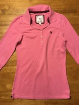 Abercrombie Girl's Pink 3/4 Sleeve Polo Shirt - Size: Large image 2