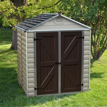Storage Shed Plastic 6x5 Lockable Door Latches Traditional Outdoor Garde... - $685.70
