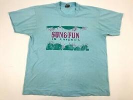 Vtg 90s Fotl Sun &Fun In Arizona Hot Cactus Single Stitch Graphic T-Shirt Xl Usa - $21.78