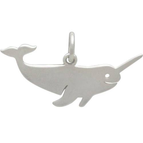 Charm, Narwhal, Sterling Silver, 12x23mm, Pkg Of 1Pc (12710)/1