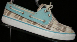 Sperry Top-Sider plaid fabric round toe laced boat moc loafer 2-eye 6M 5713 - $24.45