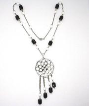 Halskette Silber 925, Onyx Schwarz Röhre, Medaillon Sterne und Kreise Anhänger image 2