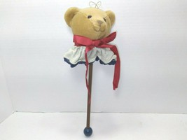 Bear Head On A Wooden Stick With Ribbon And Ruffle Christmas Ornament - $14.01