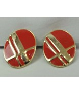 """VINTAGE RED GOLD TONE CLIP-ON BUTTON EARRINGS 1.1/4"""" (D) - $7.02"""